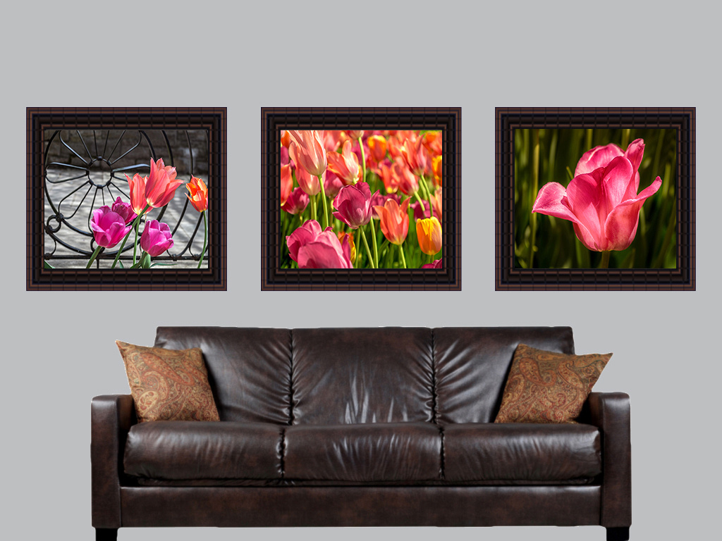 three floral behind couch