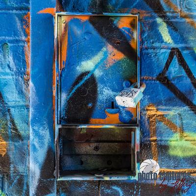Graffiti covered locaked box square