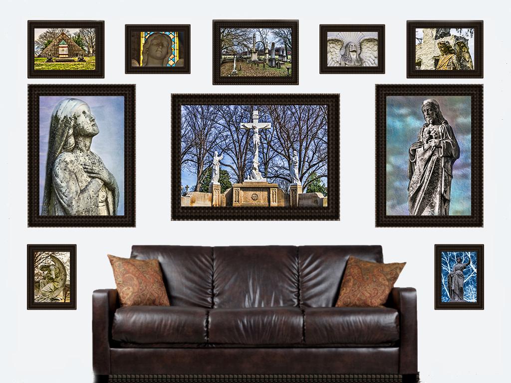 sculptures framed on wall
