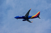 Blue Red Yellow plane in flight