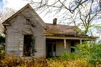 Old abandoned house fall view
