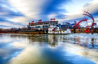 Tug Boat Moving Past LP Field On The Cumberland River Nashville TN
