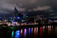 Music City riverfront cloudy sky night view