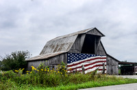 Country barn with flag on the front