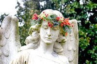 Winged angel with leaf and berry headband