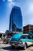 Classic Car Against Skyscraper Downtown Nashville