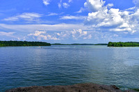 Looking at waters of Percy Priest Lake from up on high