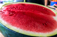 Close up of seedless sliced watermelon