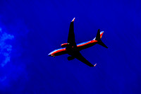 Dark view of Airplane in Flight artistic