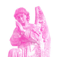 Kneeling red male angelic winged sculpture