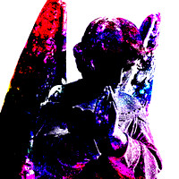 Colorful angelic angel winged male sculpture
