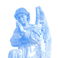 Kneeling blue male angelic winged sculpture