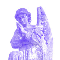 Kneeling purple male angelic winged sculpture
