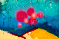 Colorful pink red abstract balls graffiti