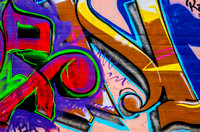 Purple and Golden Letters graffiti