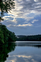 Calm still waters of Radnor Lake between the rain