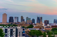 Watercolor Nashville Skyline during the evening sun