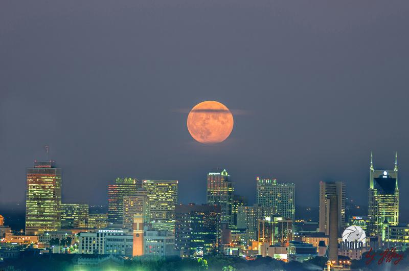 Glow Of Harvest Full Moon Over Nashville