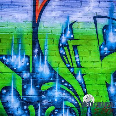 Blue splash green tint letter Graffiti square