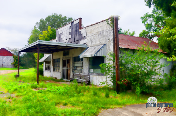 Rustic rural abandoned gas station