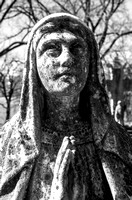 Hands Pressed In Prayer Female Sculpture Black and White