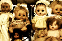 Grouping of creepy forgotten dolls