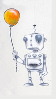 Robot Holding Balloon graffiti