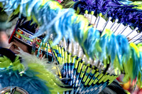 Fancy male dancer blue green beads and feathers