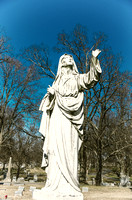 Robed Male Sculpture Blue Skies Calvary Catholic Cemetery