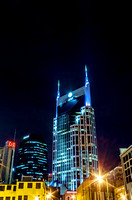Nighttime view Batman Building Music City Nashville TN