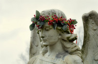 Mourning angel with berry and green leaf headband