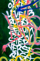 Words and Letters against Green graffiti