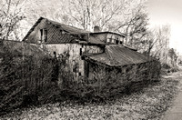 Black and White rustic abandoned home US Highway 70