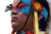 Beads covering eyes feather to the side Mount Juliet Powwow