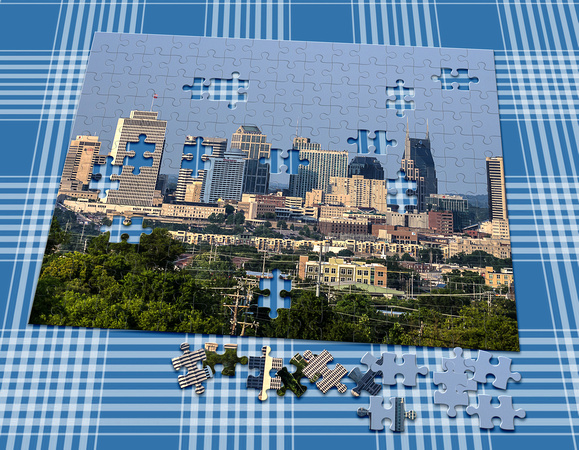 Skirting the tree line Nashville cityscape puzzle
